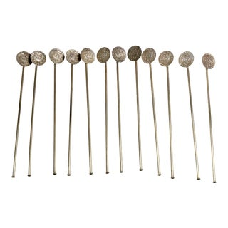 Sterling Silver and Stainless Steel Mayan Design on Bowl Ice Tea Spoons, Marked on Back - Set of 12 For Sale