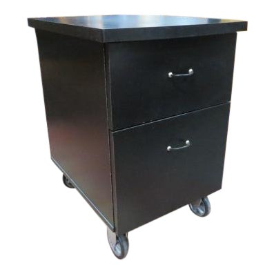 Vintage Industrial 2 Drawer Black Laminate File Cabinet For Sale