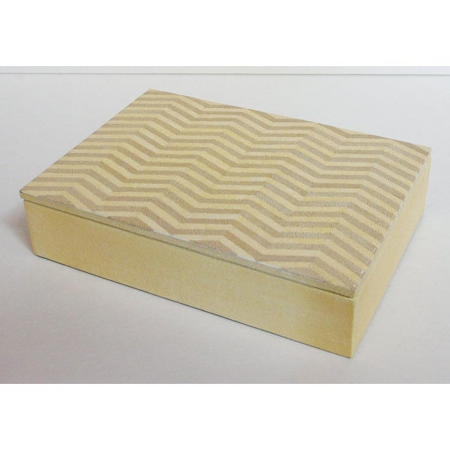 Ivory and brown Shagreen box with zigzag pattern and gray suede interior Depth: 7 inches / Width: 10 inches / Height: 2.5...