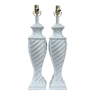 Vintage Chinoiserie Faux Bamboo-Style Plaster Lamps - a Pair For Sale