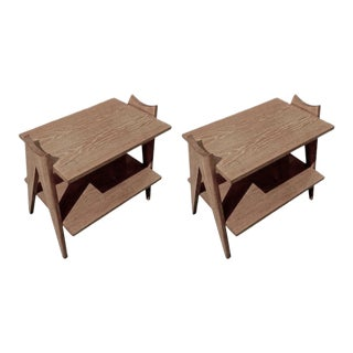 Style of Jean Prouve Pair of Two Tier « Compas » Side Table in Cerused Oak