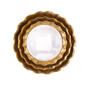 John Richards Round Gold Convex Petal Mirror For Sale
