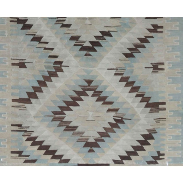 1940s handwoven Kilim with distinct abrash in subtle blue-gray gradations.