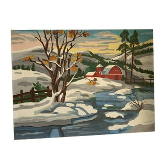 Cheerful Winter Country Barn Painting For Sale