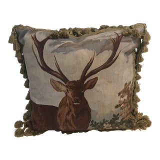 Vintage Needlepoint Pillow With Deer For Sale