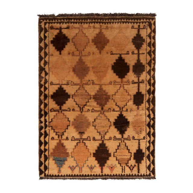 Antique Gabbeh Rug Tribal Beige Brown Hand-Knotted Persian Diamond Pattern For Sale In New York - Image 6 of 6