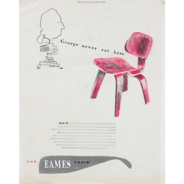 Modern Mid Century Eames Chair Illustration in Pastel and Colored Pencil For Sale - Image 3 of 3