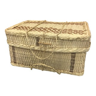 Boho Chic Woven Suitcase Trunk For Sale