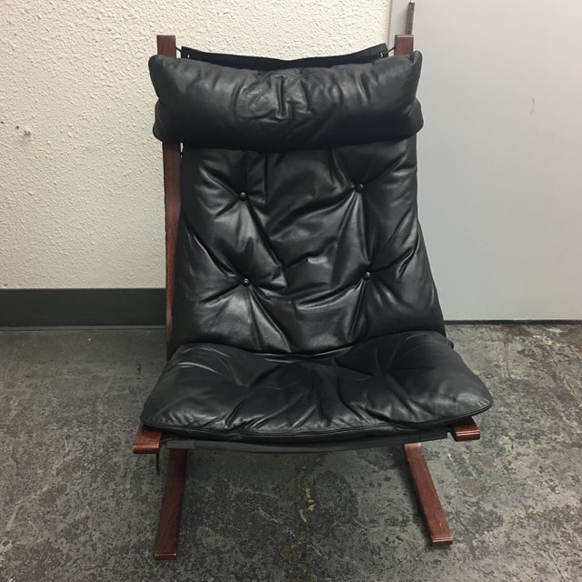 Westnofa Furniture Mid-Century Leather & Teak Chair & Ottoman - Image 4 of 8