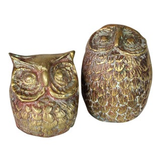 1960's Mid-Century Solid Brass Set of Owl Paperweights - a Pair For Sale