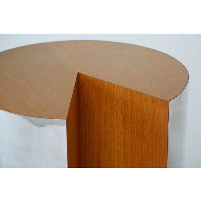 """1980s Pace Chrome and Wood """"Pac-Man"""" Cut-Out Side Table. Circa 1980 For Sale - Image 5 of 6"""