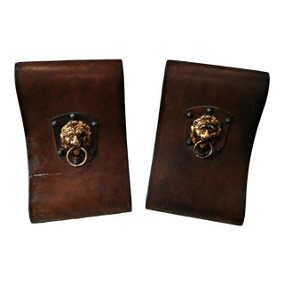 Vintage Italian Leather Covered Lion Head Bookends - a Pair For Sale