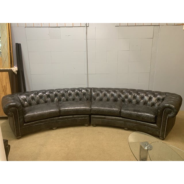 Hooker Hooker Vintage Espresso Distressed Weldon Leather Tufted Sectional Sofa For Sale - Image 4 of 4