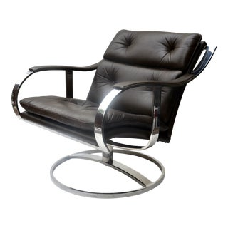 Steelcase Leather Lounge Chair Gardner Leaver For Sale