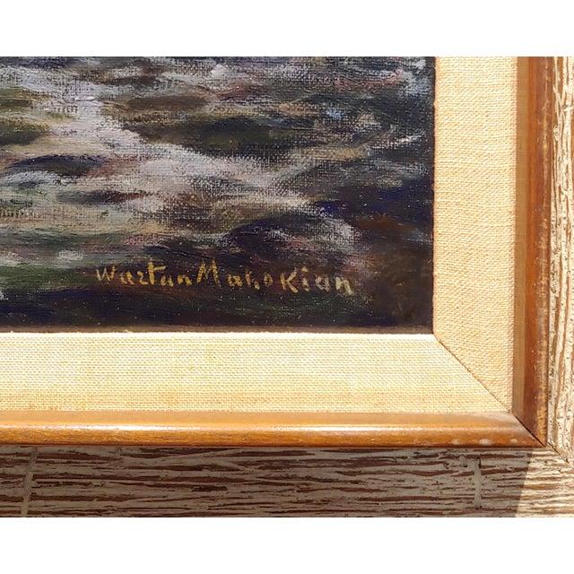 "Blue Vartan Mahokian ""Seascape Magic Sunset"" Oil Painting C.1920s For Sale - Image 8 of 11"