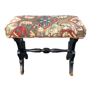 Antique Victorian Tapastry Bench Foot Stool For Sale