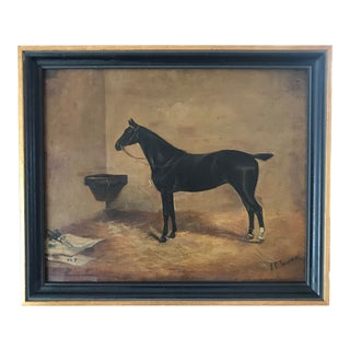 Antique English Oil Painting Portrait of a Horse by John Charles Tunnard C.1890 For Sale