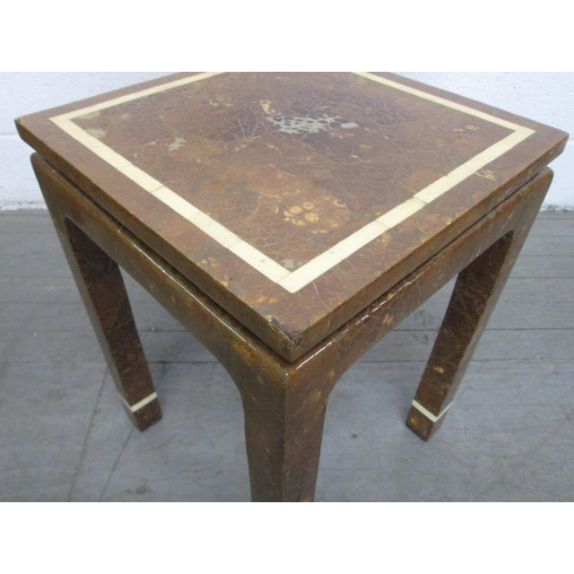 Mid-Century Modern Coconut Shell and Bone Inlaid Side Table For Sale - Image 3 of 7