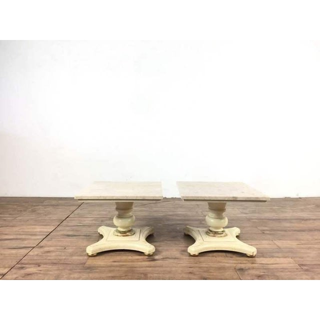 Vintage Buccola Brothers Travertine Top End Tables - A Pair For Sale In San Francisco - Image 6 of 6