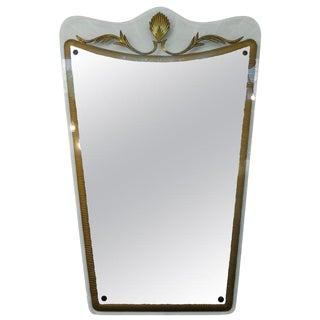 1940s Vintage Italian Fontana Arte Attributed Mid Century Gilt Decorated Mirror For Sale