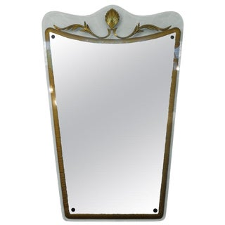1940s Vintage Italian Fontana Arte Attrubuted Mid Century Gilt Decorated Mirror For Sale