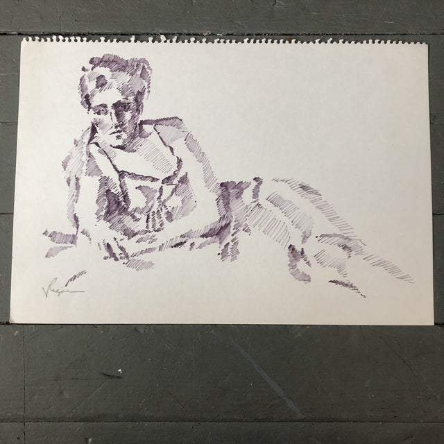 Original Vintage Female Ink Study Sketch Drawing For Sale - Image 4 of 4