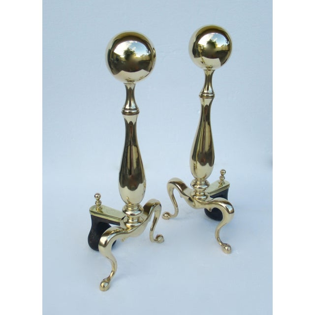 American Classical C1970s Vintage American Regency Brass Claw-Footed Andirons - a Pair For Sale - Image 3 of 13