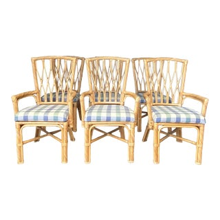 Vintage Coastal Twisted Pencil Reed Dining Chairs For Sale