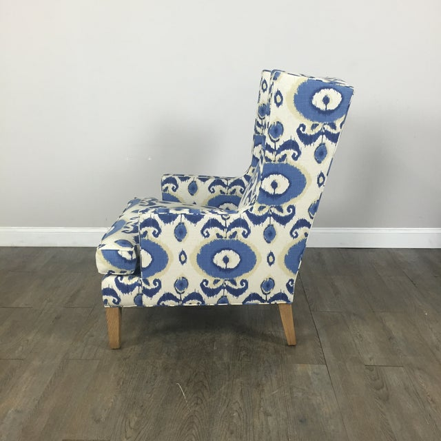 Crate & Barrel Patterned Wingback Chair - Image 7 of 10