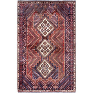 """Pasargad Vintage Hamadan Red and Navy Wool Area Rug - 4' 3"""" X 7' 1"""" For Sale"""