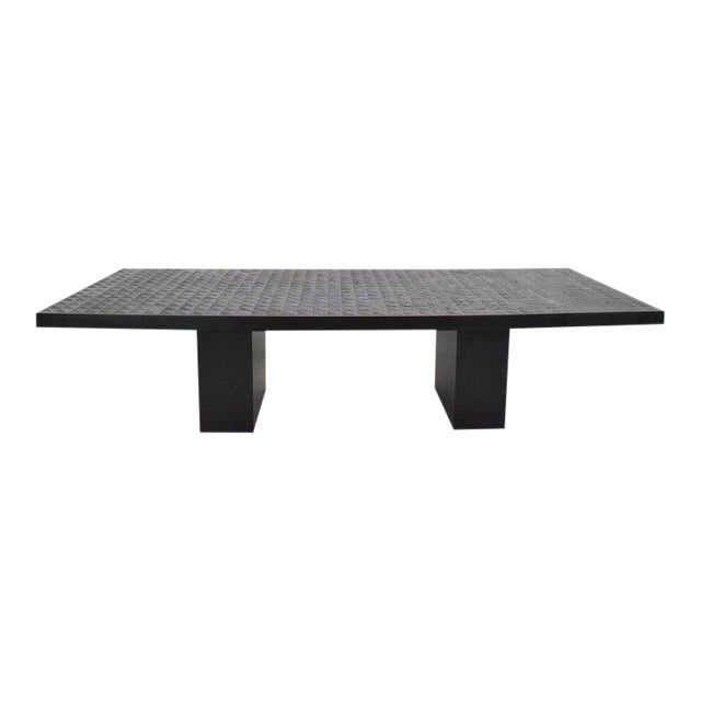 Hollywood Regency Style Ebonized Oak Dining Table and Two Leaves For Sale