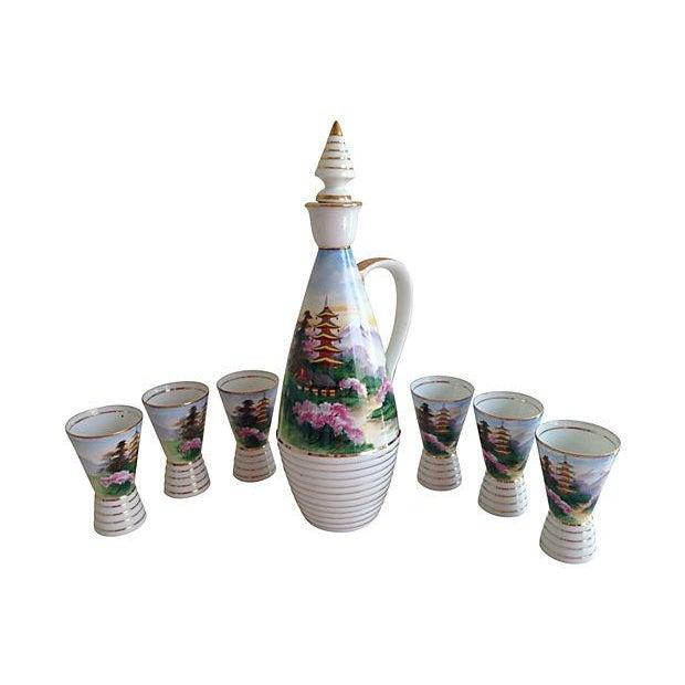 Midcentury Porcelain Sake Set - 8 Pieces - Image 1 of 7