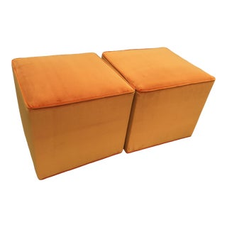 Velvet Ottomans in Orange Sherbet- A Pair For Sale