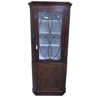 19th Century English Georgian Mahogany Corner Cabinet For Sale