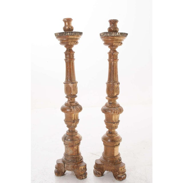Mid 19th Century French 19th Century Gold Gilt Altar Torcheres - a Pair For Sale - Image 5 of 8