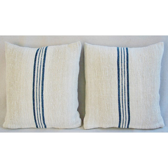 Blue Striped French Grain Sack Pillows - A Pair - Image 3 of 11