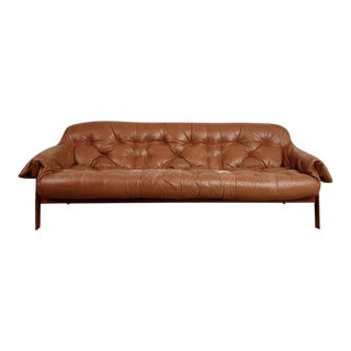 Percival Lafer Rosewood and Distressed Leather Tufted Sofa, Brazil, circa 1960 For Sale