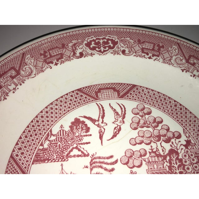 1970s 1970s Vintage Willow Ware Red & White Porcelain Plate For Sale - Image 5 of 10