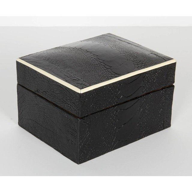 R & Y Augousti Pair of R & Y Augousti Decorative Boxes in Exotic Ostrich Leather With Bone Inlay For Sale - Image 4 of 13