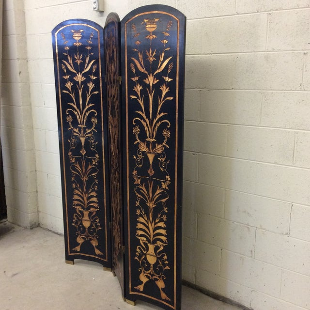 Asian Black Lacquer & Gold Leaf Chinoiserie Wood Carved 3-Panel Screen Room Divider For Sale - Image 3 of 11