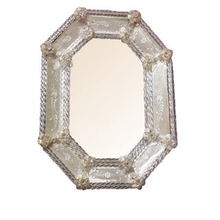 Antique Venetian Murano Mirror Early 1900's Etched Venetian Mirror Shabby Romantic Ornate Venetian Mirror For Sale