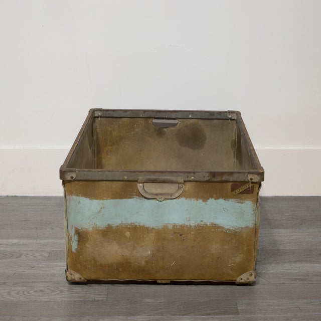 Large Vulcanized Canvas Factory Bin C.1948 For Sale - Image 4 of 8