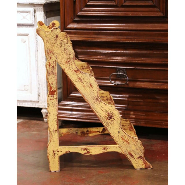 Yellow Mid-Century French Country Carved and Painted Pine Library Step Ladder For Sale - Image 8 of 13