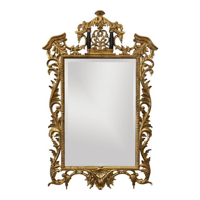 Vintage Harrison and Gil Gilded Chinoiserie Mirror For Sale