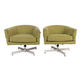 Milo Baughman for Thayer Coggin Tilt Swivel Club Chairs - A Pair