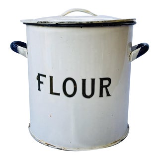 Antique English Flour Enamel Canister