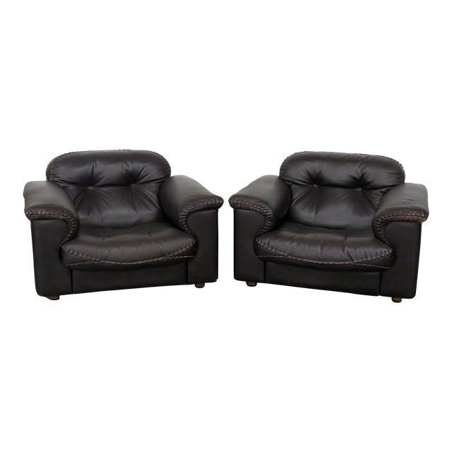 d3168f7afbee0 Mid-Century Modern Black Leather Club Chairs - a Pair For Sale