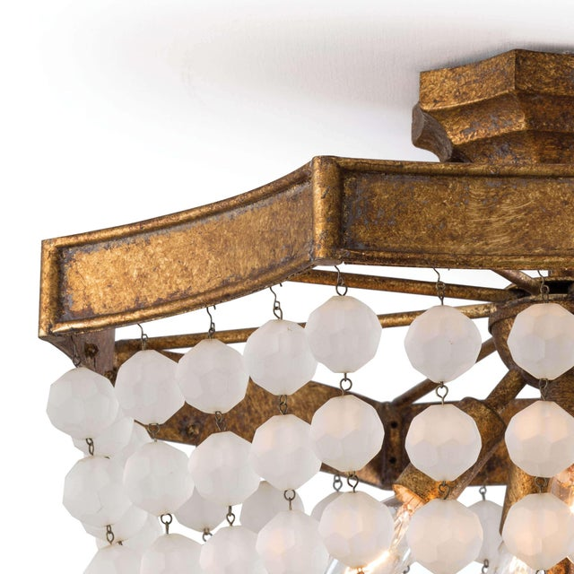 Traditional Frosted Crystal Bead Semi Flush Mount For Sale - Image 3 of 5