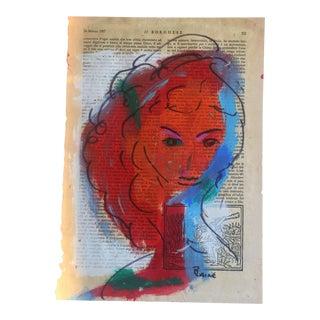 Original Painting Female Face Vintage Signed For Sale