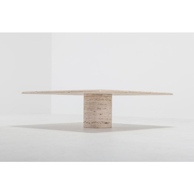 Travertine mid-century modern coffee table by Angelo Mangiarotti for Up & Up. This piece is timeless and highly in trend...